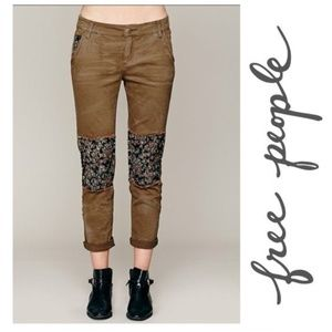 Free People Ditzy Jeans Olive Floral Patch 0 XS